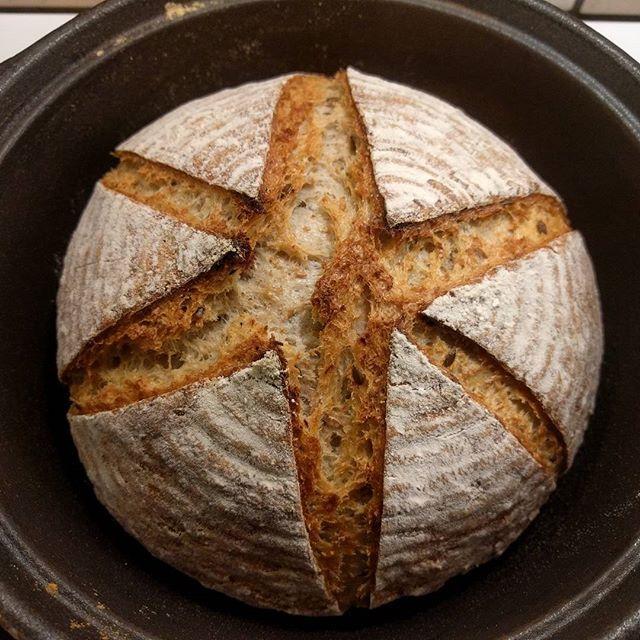 Øver meg på å snitte! Practicing scoring! 😛🍞 Saftig #surdeigsbrød med #kefir og masse linfrø, link i bio. 😄 #matfrabunnen #surdeig #sourdough #sourdoughbread #artisanbread #baking #fermentation #realbread #instafood #instagram #instabread #slowbread