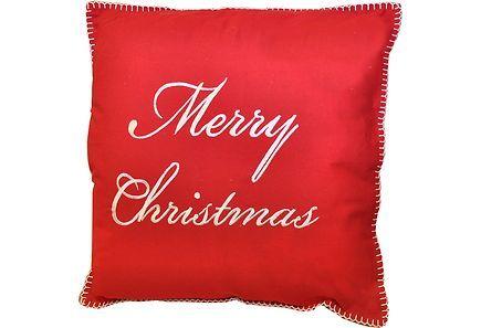 Punainen puuvilla tyyny, kaunis valkoinen prodeeraus Merry Christmas, vetoketjukiinnitys, sisätyyny sisältyy, koko: 45x45 cm