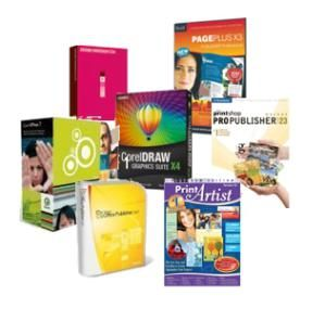 Find the Right Desktop Publishing Software: Clockwise from the top: Serif PagePlus, The Print Shop Pro Publisher, Print Artist, Microsoft Office Publisher, QuarkXPress, Adobe InDesign, CorelDRAW Graphics Suite.