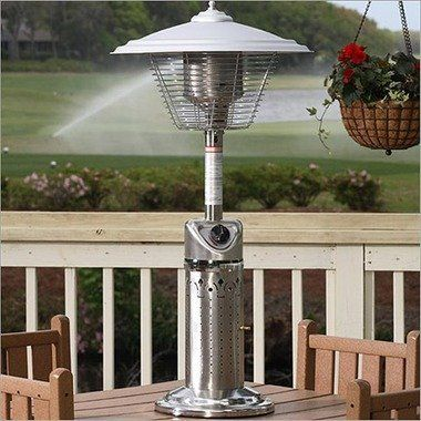SkyMall Stainless Tabletop LPG Heater by SkyMall. $120.29. Tabletop LPG Heater (Stainless Steel) The Fire Sense Stainless Steel Table Top Patio Heater not only warms up your outdoor gatherings but also enhances the decor of your patio or backyard. The heat output can be adjusted to 10 000 BTUS and the approximate consumption rate is three hours per disposable LPG cylinder. For this heater a standard one pound propane cylinder is used but not included. With the Fire Sens...
