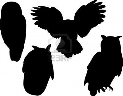 A whole group of owl silhouettes