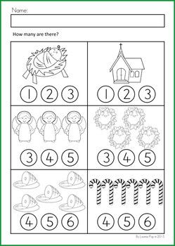 Math & Literacy Worksheets & Activities - Christmas {80 pages} A page from the unit: Count and color (or use with dot paints)