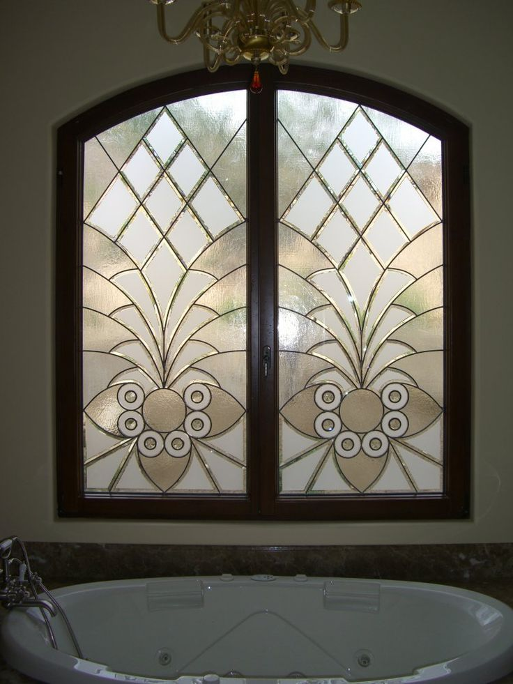Arabesque Bevels Ii Tub Windows Decorative Leaded