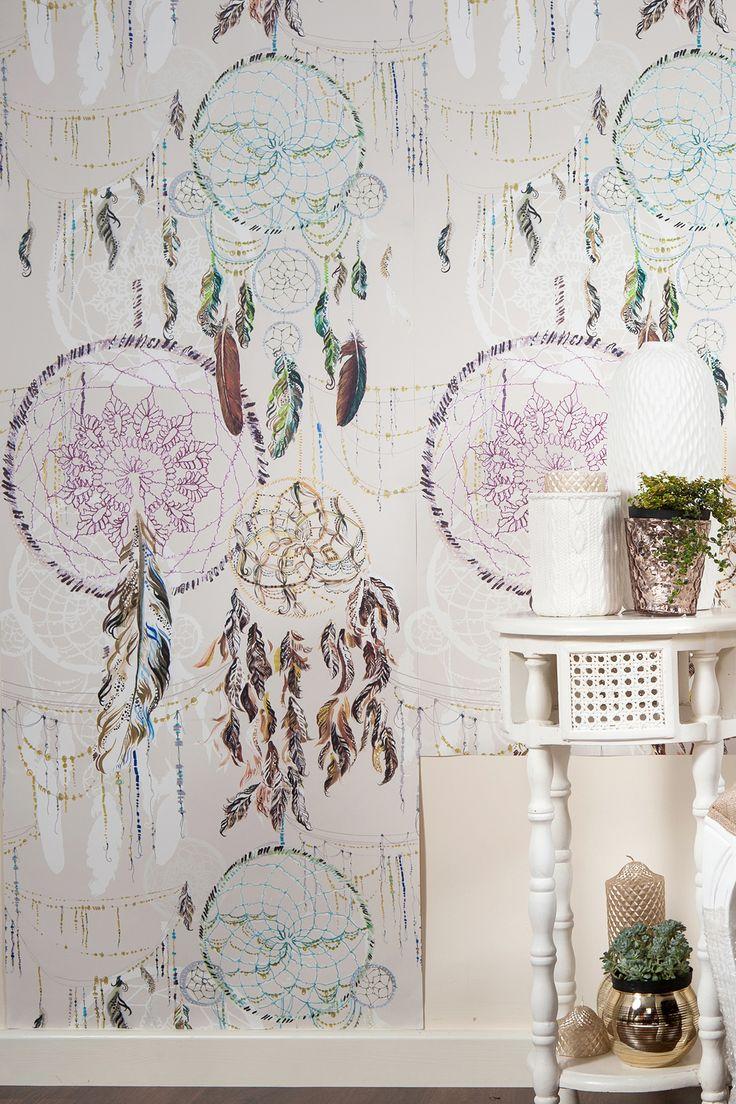 Niyaha - Monument Interiors - love this dreamcatcher wallpaper