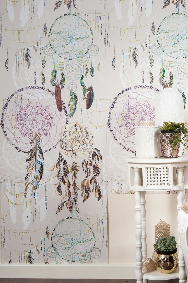 Niyaha - Monument Interiors - love this dreamcatcher wallpaper