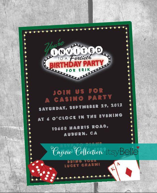 Casino theme invitation Slots and Poker