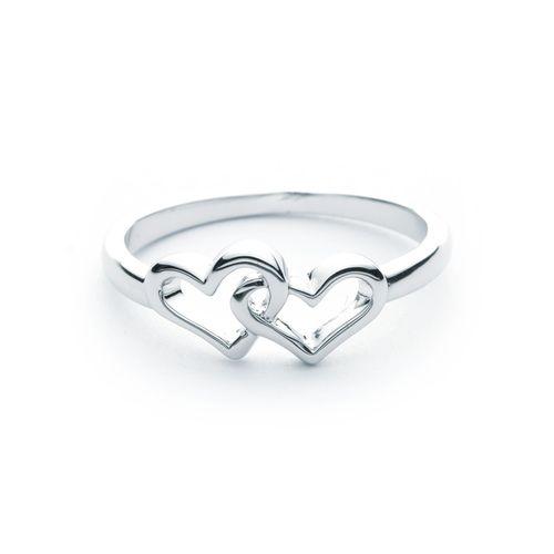 Two Hearts in love interlocking heart Ring