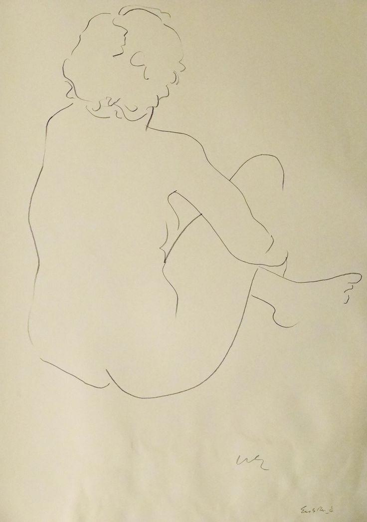 "Nude Figure I, crayon on cream - colored paper, 24"" x 19"", $1,800, http://transformgallery.com/wayne-ensrud/"