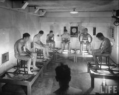 Insane Asylums Mental Hospitals   Worcester State and Rochester New York Insane This room is at 112 degrees with 95% humidity where doctors are collecting these patients sweat in the below flasks for analysis. I have no idea what they are looking for but the image creeps me out.