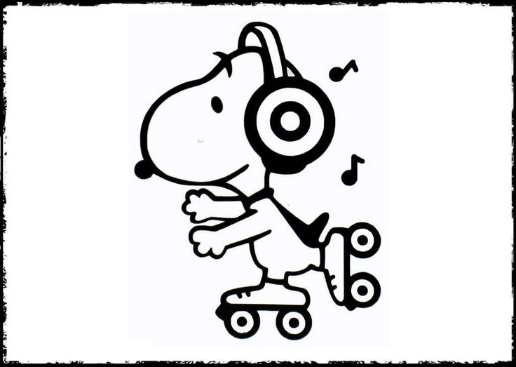 Snoopy Playing Roller Skates coloring picture for kids