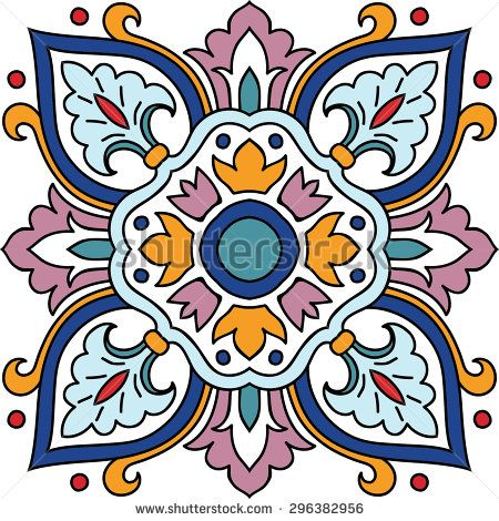 Vector seamless ornamental tile background. Italian style