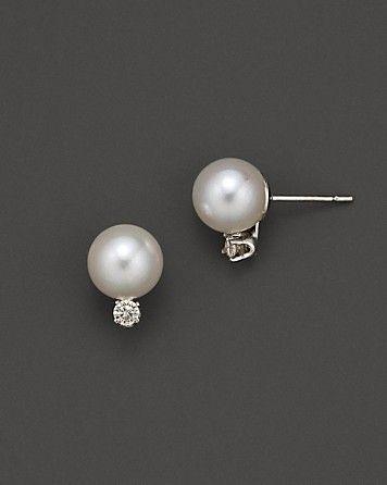 Akoya Pearl and Diamond Stud Earrings   Bloomingdale's