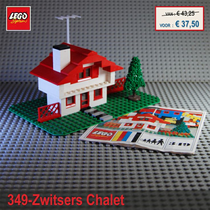 TE KOOP , Zwitsers Chalet , Lego 349 ( Swiss Chalet ) compleet met originele onderplaat en bouwinstructie, inclusief zeldzame granulaat boom en antenne. Dit Chalet uit het jaar 1971, bevat 81 lego stukjes. Heeft u interesse om dit aangeboden product te kopen, mail auction-nr: 349-Zwitsers Chalet en uw telefoon nummer naar support@stephan-manie.nl [ Prijzen zijn exclusief verzendkosten, het product kunt u op afspraak komen ophalen ]