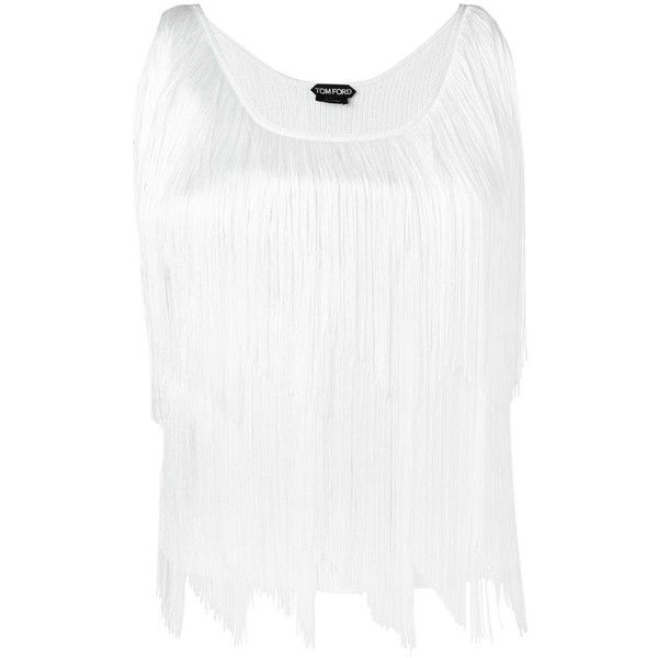 Tom Ford fringed top (£1,580) ❤ liked on Polyvore featuring tops, white, fringe tops, white fringe top, tom ford and white top
