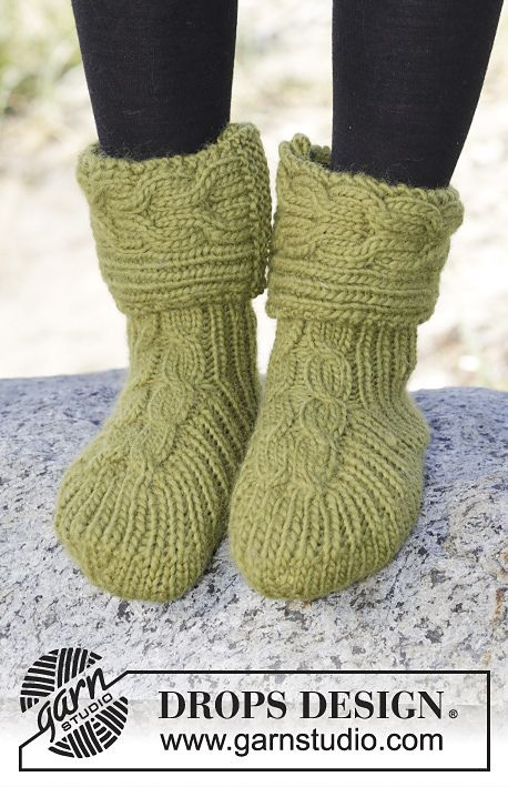 Forest Steps Slippers By DROPS Design - Free Knitted Pattern - (ravelry)