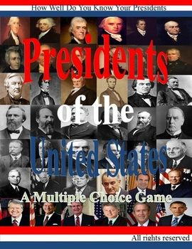 Presidents of the United States is a challenging multiple choice power point game to test your students knowledge of our U.S leaders . If your students know their history then there will not be a problem for them. If they don't, well this is an excellent game that will help them to get to know our U.S. leaders.