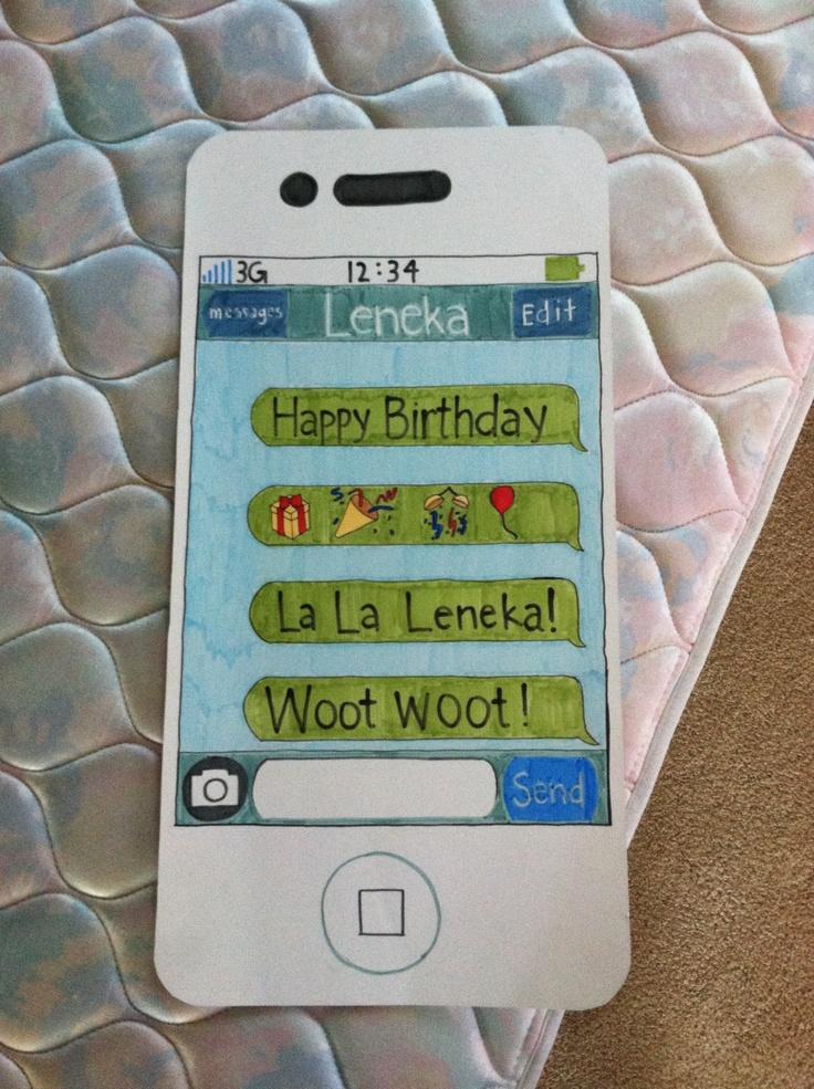 IPhone Birthday Card Birthday Cards Pinterest