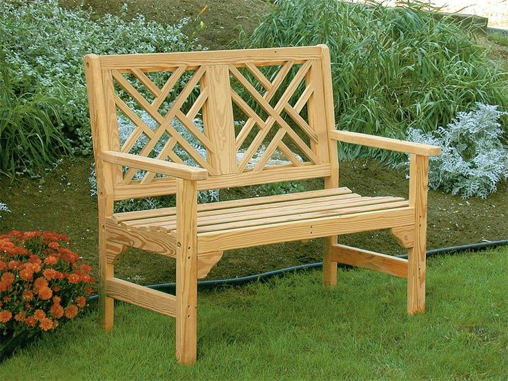 Amish Pine Wood Chippendale Garden Bench The Amish Pine Wood Chippendale Garden Bench features intricate woodworking on a sturdy frame.