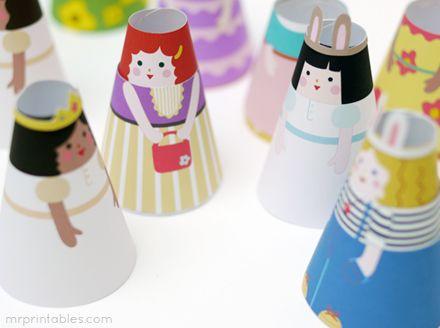 Printable Paper Dolls - Cone Girls | Mr Printables: Paper Cones, Printables Paper, Kids Stuff, Paper Dolls, Cones Girls, Cones Dolls, Kids Crafts, Allfreepapercrafts Com, Free Printables