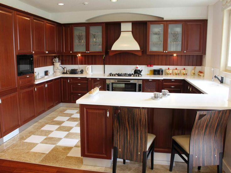 Ideas Kitchen | Ideal U-Shaped Kitchen In Modern Kitchen Interior Designs: Brown Wooden Kitchen Cabinetry Set Using Frosted Glass Door And White Porcelain Countertop In U-shaped Kitchen