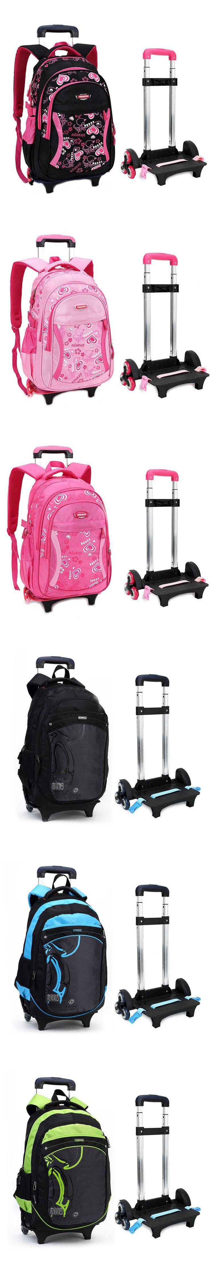 Trolley School Bag for Girls with Three Wheels Backpack Children Travel Bag Rolling Luggage Schoolbag Kids Mochilas Bagpack 9706
