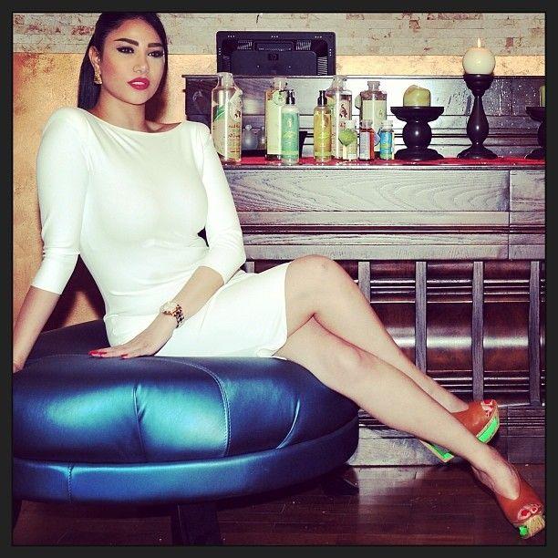 The Lebanese beauty and singer Ms Reem Al Sherif in white Tatiana model. http://www.sdress.com/product/tatiana-dress/