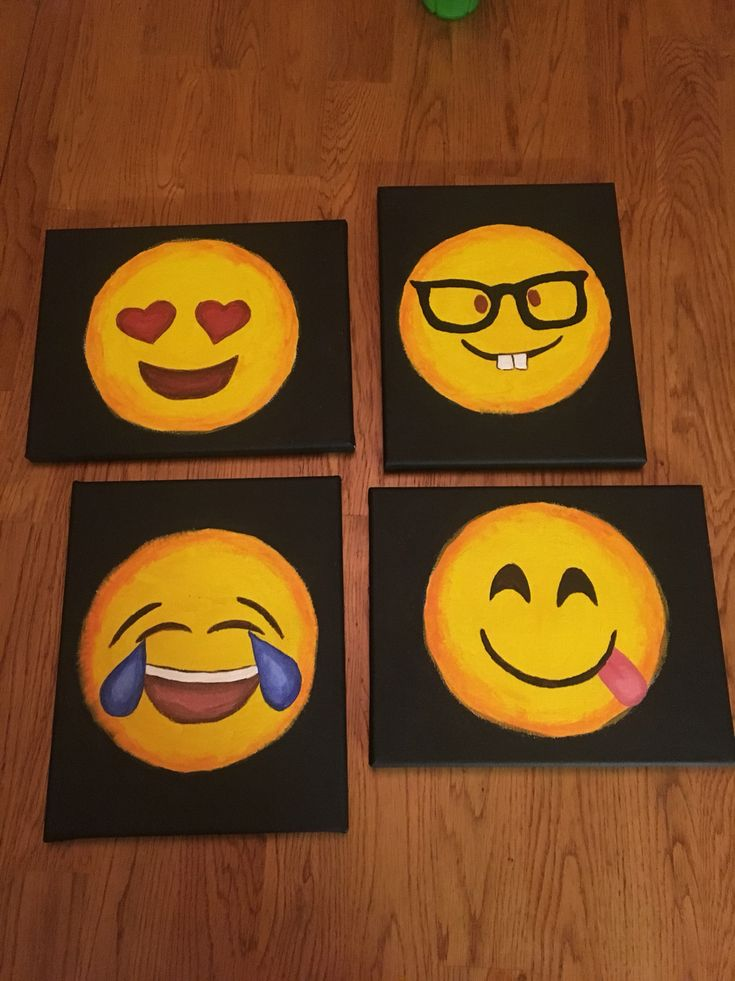This was my first time painting on canvas. Super easy and really cute emojis. #emojiclassroom