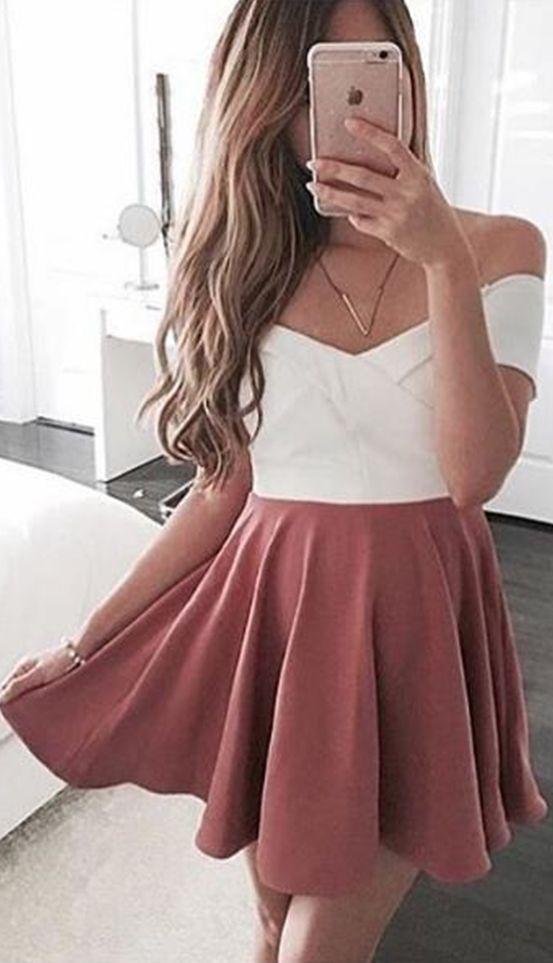 cute party dress,sundress for women ,pink homecoming dress,off the shoulder short prom dress,mini dress