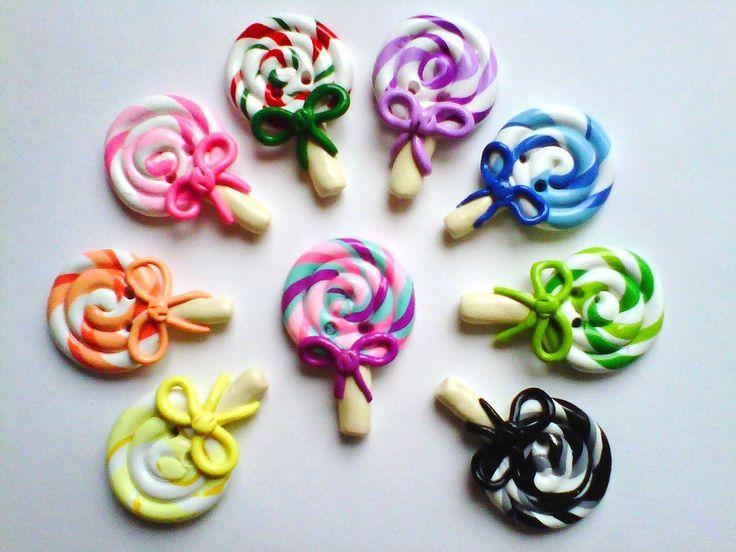 Button Lollipops handmade polymer clay buttons