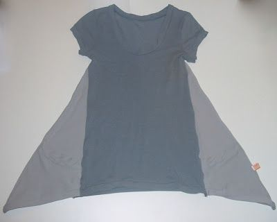 Tutorial on how to add a drape side section to a tshirt.  Imagine: use vintage scarves, another shirt, logo t's on side, silk or lace panels, etc.
