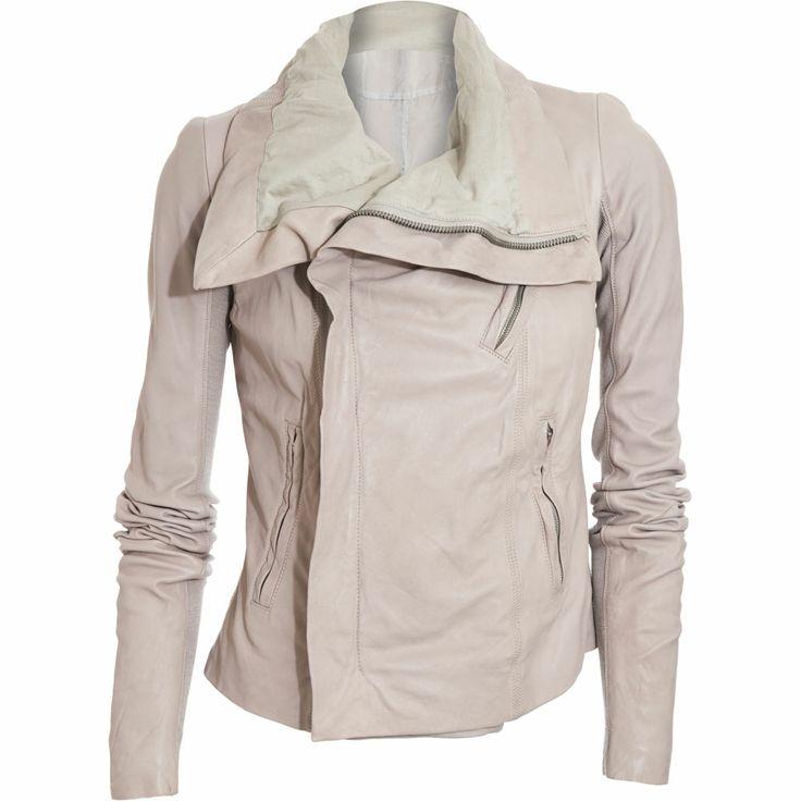 RO high neck cream leather jacket