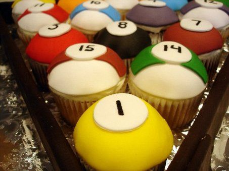 Billiard ball cupcakes from the-notsosimple-life.blogspot.com. Rack em' up!