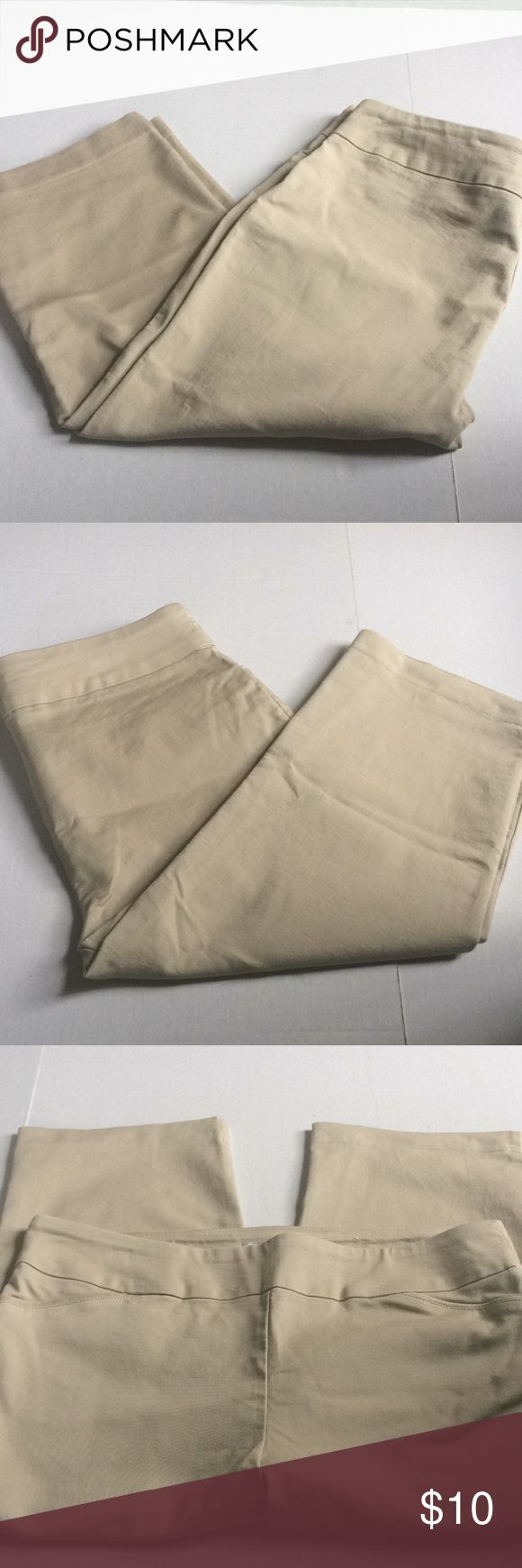 NWOT Croft & Barrow Khaki Capri pants These are NWOT croft & Barrow stretch Khaki color size large Capri pants Condition is new without tags these were never worn at all Size is a large  Fabric makeup is the last pic  Measurements  Inseam 20' Waist 18' Length 31' Bundles and offers are always welcome  HAPPY POSHING POSHERS croft & barrow Pants Capris