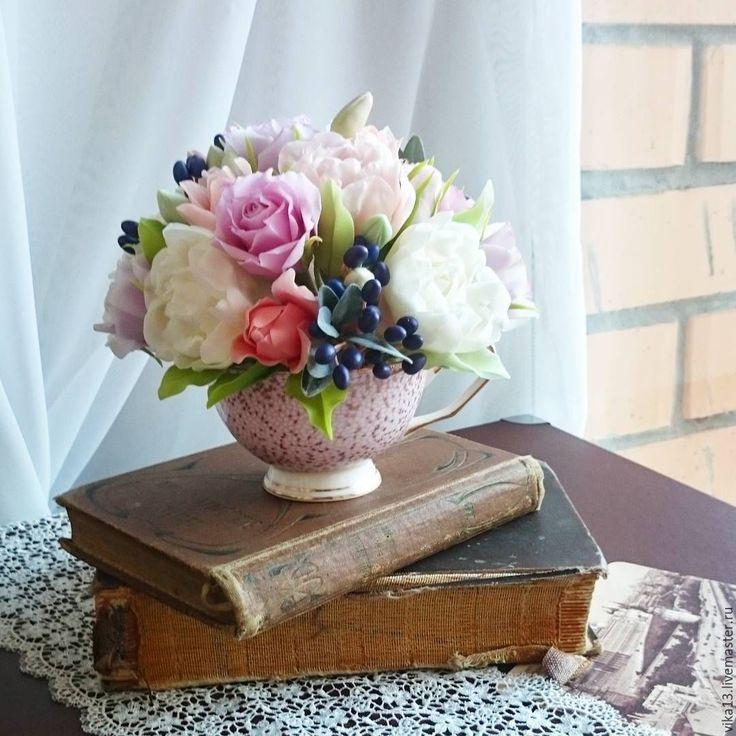 """Купить Букет """" Чашечка пионов с жимолостью"""" - цветы, цветы ручной работы"""