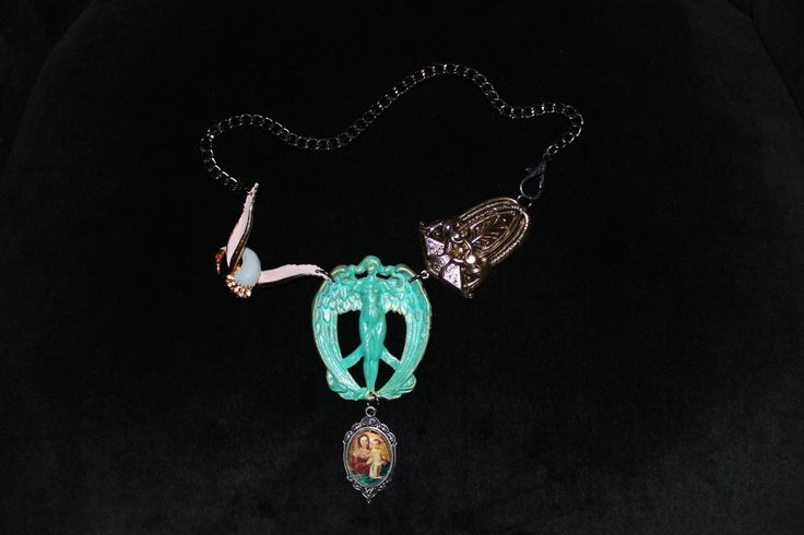 Necklace (Verdigris patina angel, swan, used stamp image)