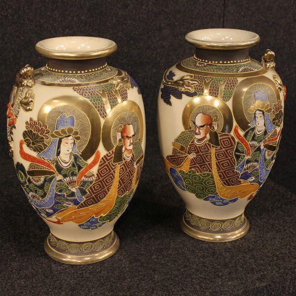 Pair Of Antique Imperial Satsuma Japan Hand Painted Ceramic Vases