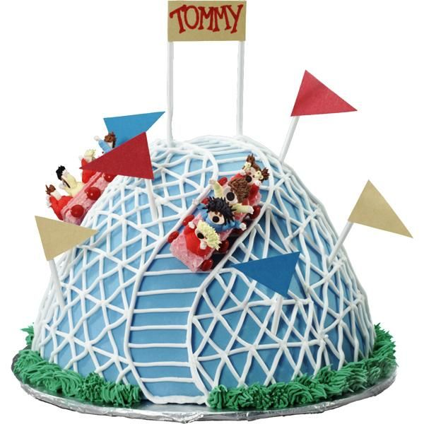Thrill your party guests to a ride on a 3-D cake! Figure piped passengers are speeding up and over your Classic Wonder Mold roller coaster. For a personalized touch, match the hair-dos and details to the attendees!