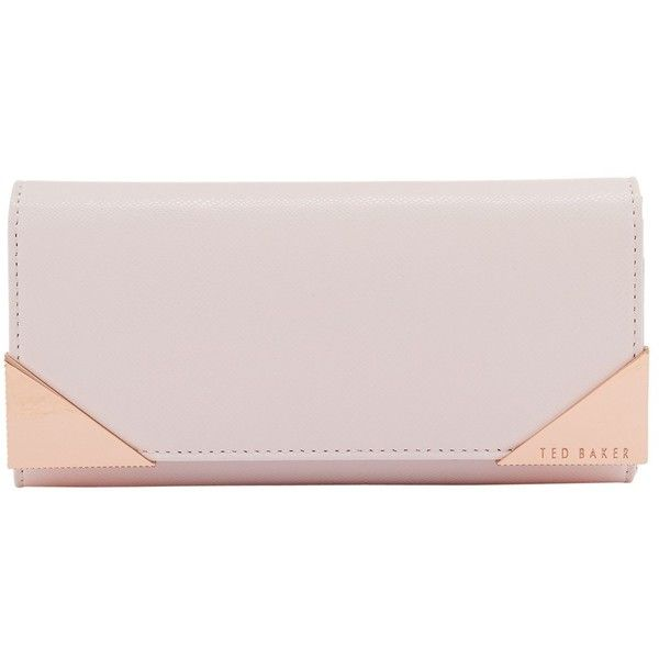 Ted Baker Knox Leather Matinee Purse , Baby Pink ($110) ❤ liked on Polyvore featuring bags, wallets, baby pink, zip coin wallet, ted baker wallet, leather zipper wallet, leather zip wallet and flap wallet