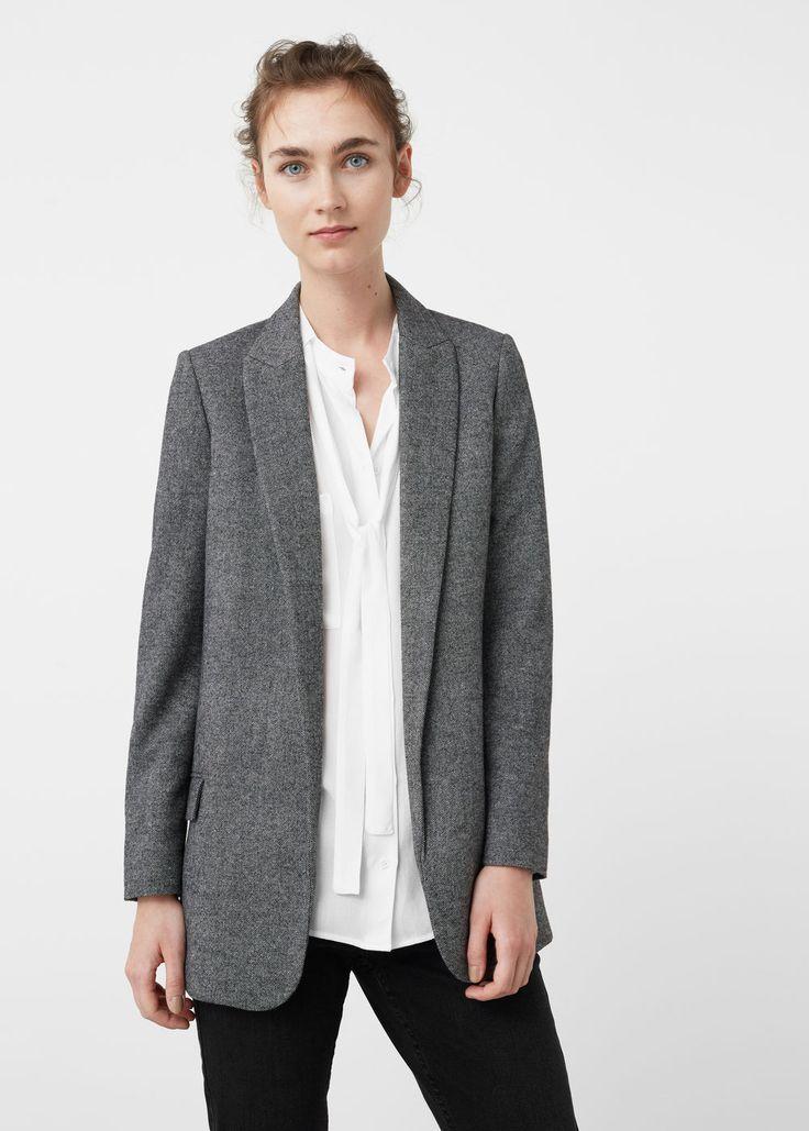 Textured wool blazer   MANGO
