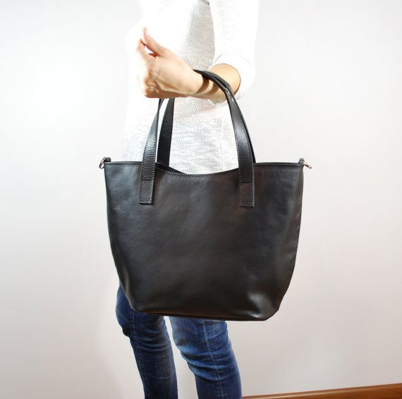 Small Black Tote Genuine Leather Long Strap by olalabags on Etsy