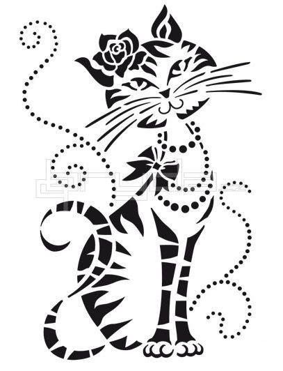 GATA cat art artwork drawing chat kitty cat feline black and white art female feline her