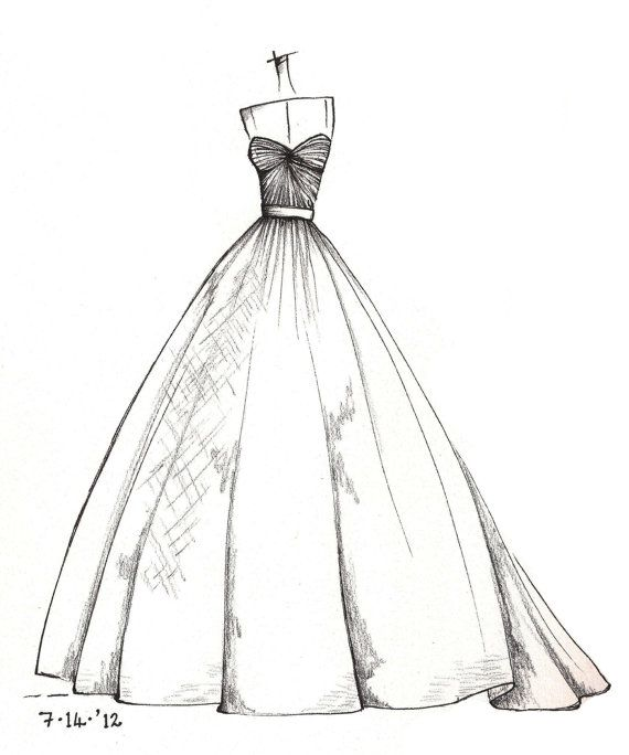 weddinng dress illustration by dresssketch on Etsy
