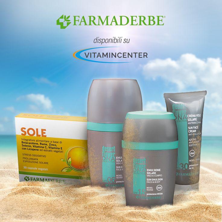 Voglia di sole? I SOLARI DesertFlower DNA Protection e l'integratore Sole della linea #Farmaderbe ti proteggono prima, durante e dopo l'esposizione al sole donandoti un'abbronzatura ambrata, uniforme e persistente, adeguata ad ogni fototipo di pelle, dalla più chiara alla più scura.  * senza nanofiltri, petrolati, parabeni, siliconi, tea, sostanze che rilasciano formaldeide. => Disponibili su #VitaminCenter!  #solari #abbronzatura #pelle #sana