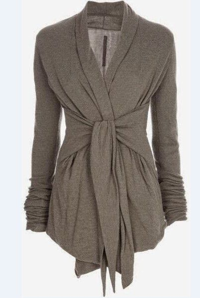 Stylish Turn-Down Collar Long Sleeve Self-Tie Design Draped Coat For Women