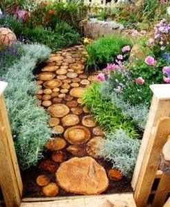 Tree Stump Garden Ideas | wooden path 247x300 Awesome Ideas for Your Garden