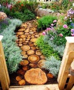 Tree Stump Garden Ideas | wooden path 247x300 Awesome Ideas for Your Garden