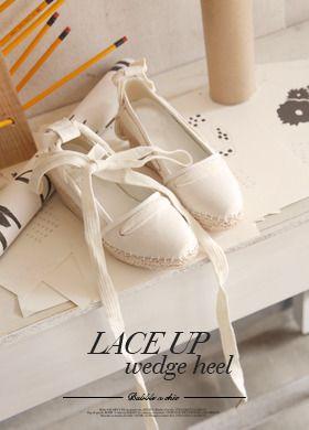 Lace-Up Weave Wedge Shoes  SFSELFAA0012663