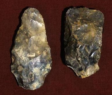 Acheulian handaxe (left) and cleaver (right) from St. Acheul, France. Lower Palaeolithic, 1.7-0.1 MYBP.
