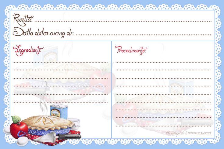 recipe card stampabili