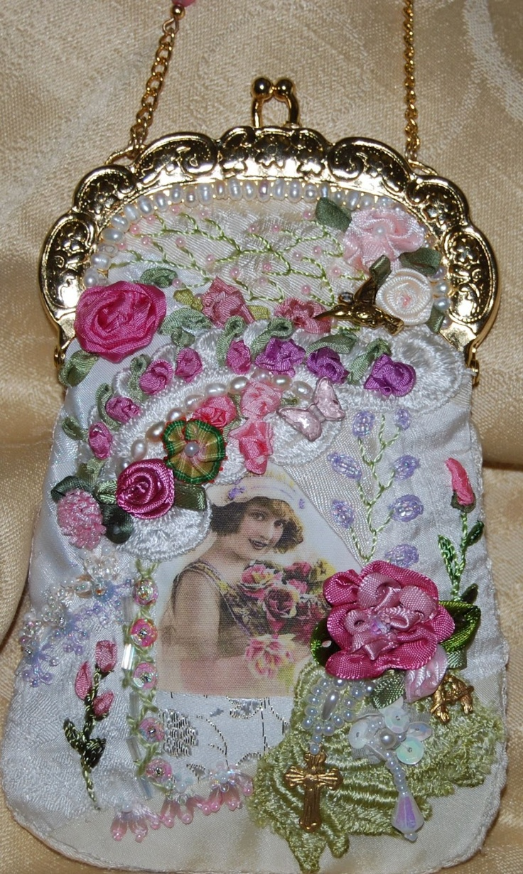 Ribbon embroidery bedspread designs - I Crazy Quilting Ribbon Embroidery A Beautiful Bridal Bag From The